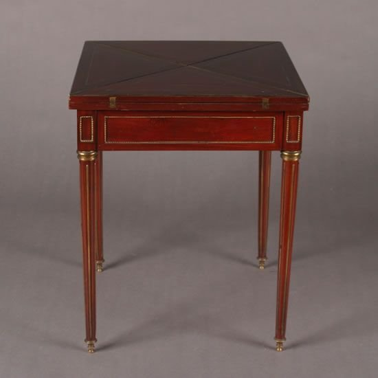 2: A Louis XVI Style Mahogany and Brass-Inlaid and Moun