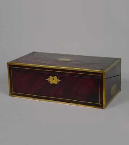9: An English Mahogany and Brass Inlaid Writing Desk,