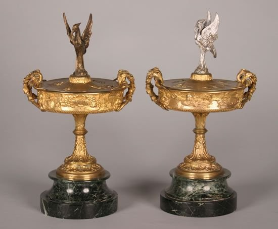 21: A Pair of Neoclassical Style Gilt Bronze Covered Ta