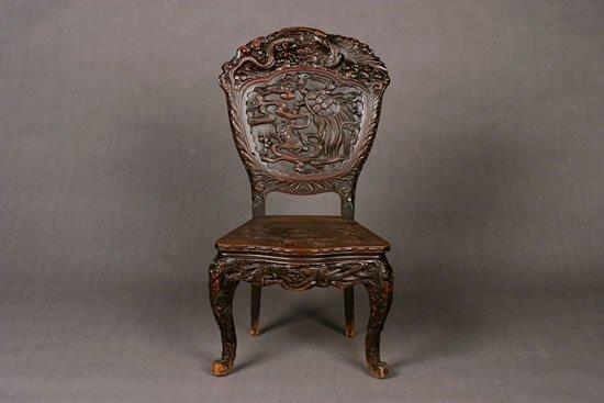 22: A Georgian Style Carved Walnut Arm Chair.
