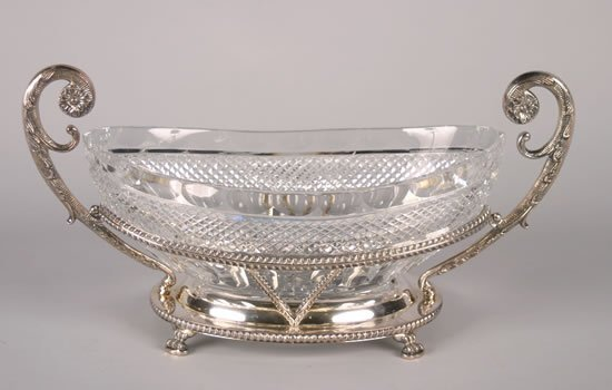 308: A Silver Plate and Cut Glass Center Bowl,