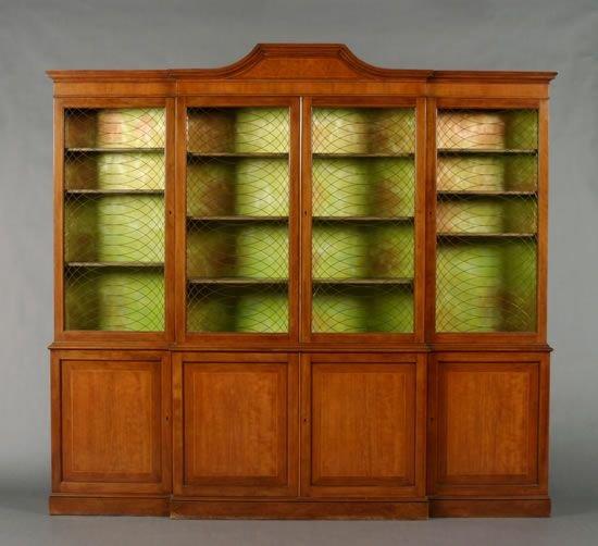 487: A Mahogany Breakfront Cabinet,
