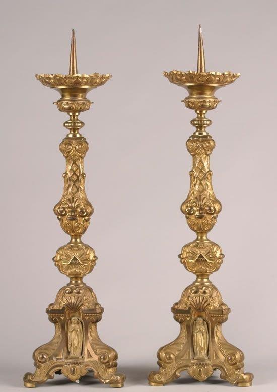 494: A Pair of Gilt-Metal Pricket Candlesticks.