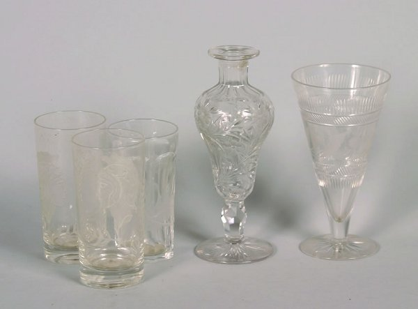 495A: A Colorless Cut Glass Stoppered Bottle,