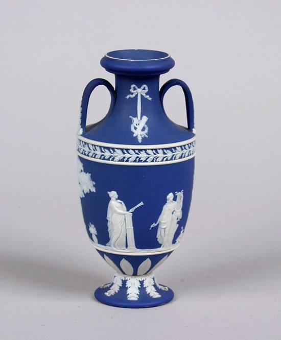 500: A Wedgwood Blue Jasperware Two-Handled Vase,