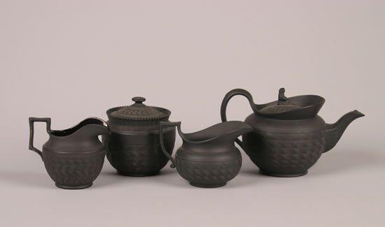 501: A Hackwood & Co Black Basalt Tea Service,