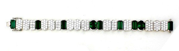 3: A Lady's White Gold, Green Tourmaline and Diamond Br