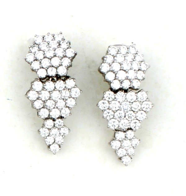 4: A Pair of Lady's Platinum and Diamond Earrings,