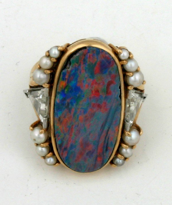 5: A Lady's Yellow Gold, Black Opal, Diamond and Cultur