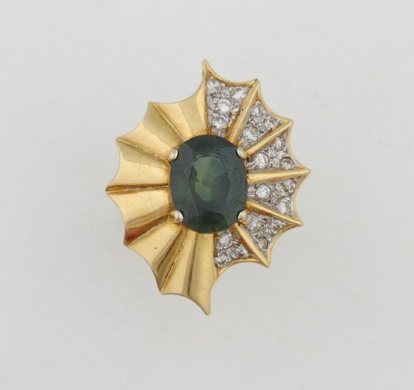 6: A Lady's 18 Karat Yellow Gold, Green Tourmaline and