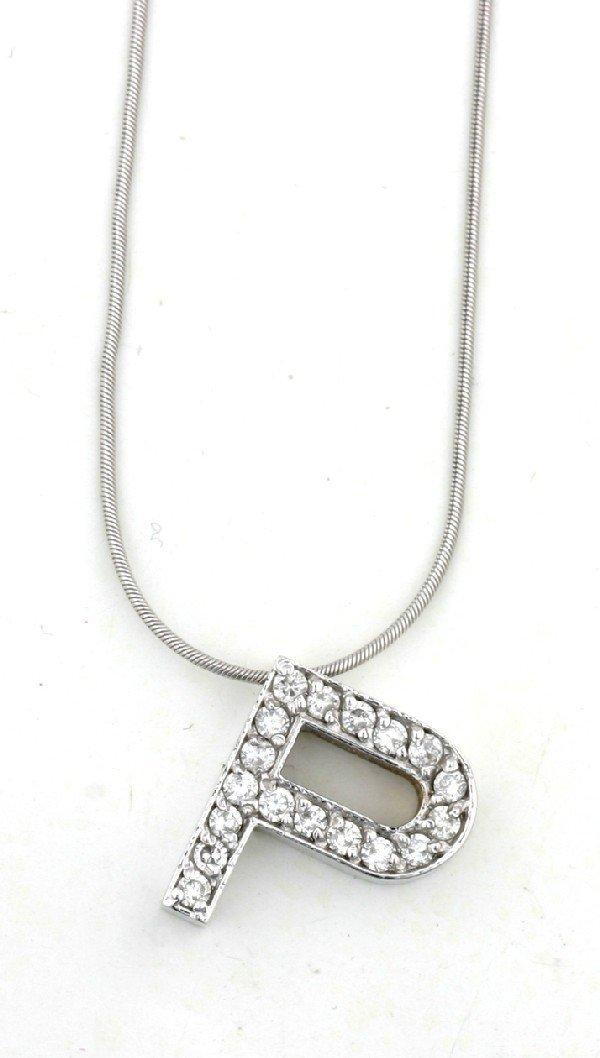 10: A Lady's 14 Karat White Gold and Diamond Pendant, L