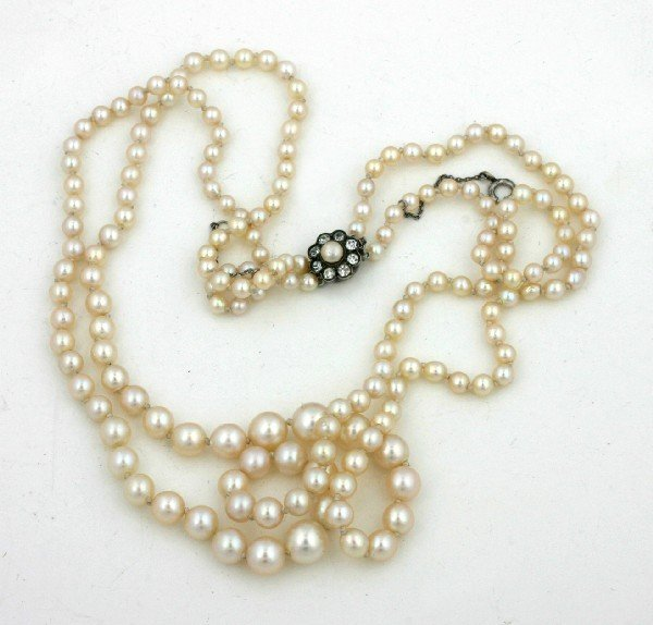 18: A Lady's Double Strand Graduated Cultured Pearl Nec