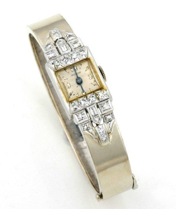20: A Lady's 14 Karat White Gold, Platinum and Diamond