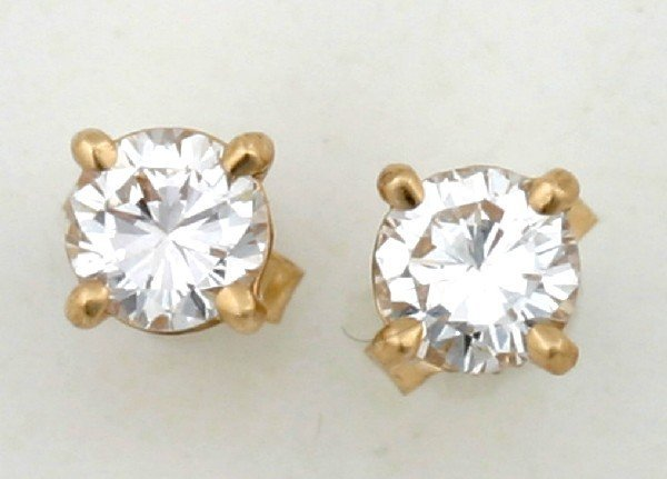 22: A Pair of Lady's 14 Karat Yellow Gold and Diamond S