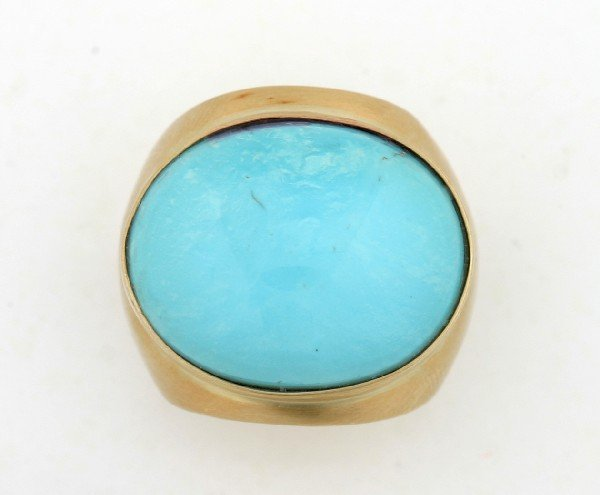 255: A Lady's 18 Karat Yellow Gold and Turquoise Ring,
