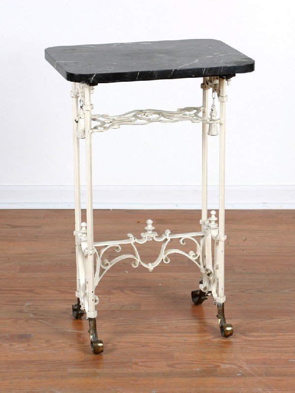 412: A Marble Topped Plant Stand, Height 31 x width 20