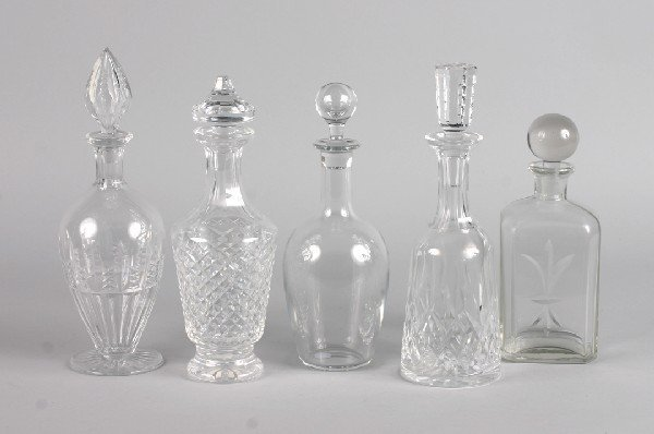 415: A Group of Five Cut Glass Decanters, Height of tal