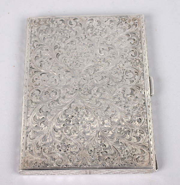 416: A German Silver Cigarette Case, Height 5 1/2 x wid