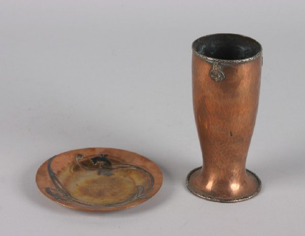420: A Copper Vase and Saucer, early 20th century, Heig