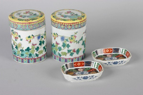 422: A Pair of Porcelain Covered Jars, Height of porcel