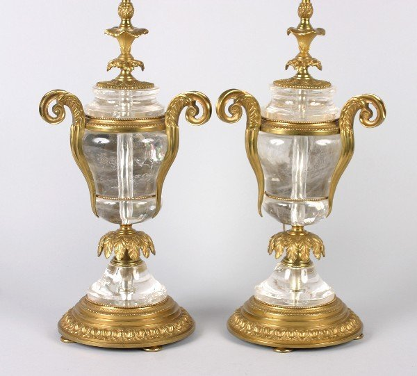 424: A Pair of Empire Style Gilt Mounted Rock Crystal T