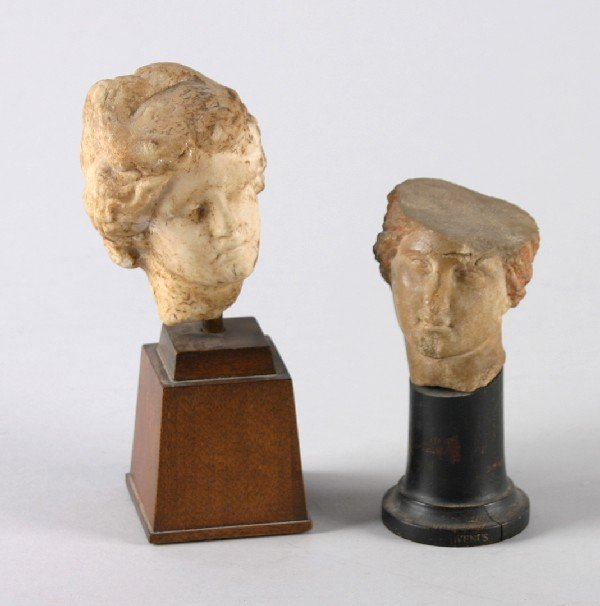 567: Two Hellenistic Small Heads, Carved Sculpture, on