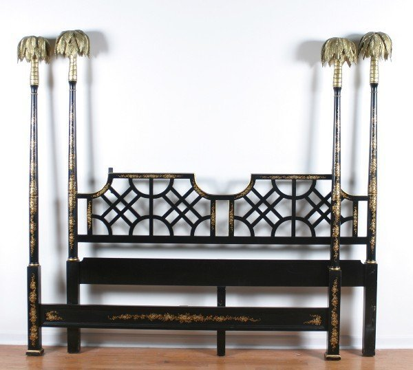 831: A Lacquered King Sized Four Poster Bed Frame,