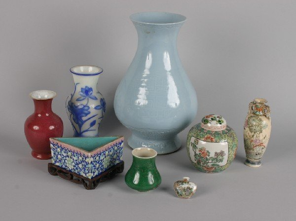 309: A Group of Three Chinese Porcelain Vases, Height o