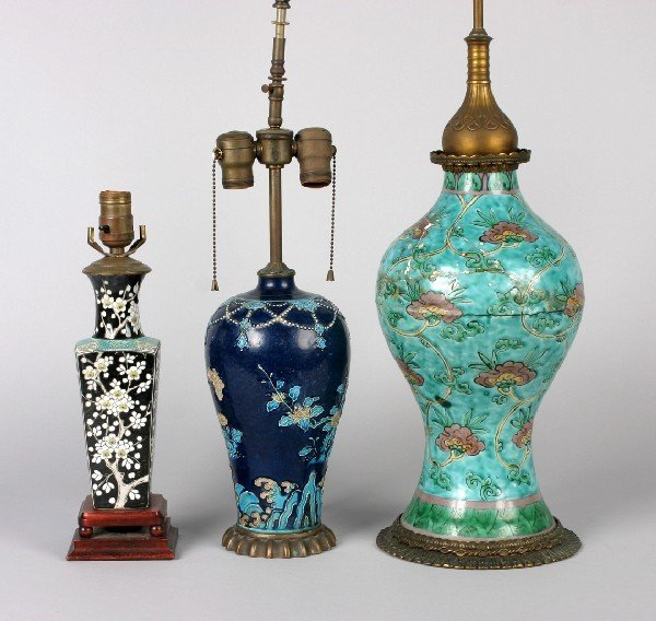 314: A Group of Three Chinese Porcelain Vases, Height o