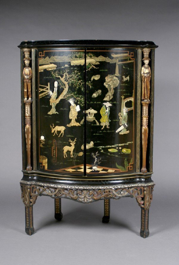 334: A Chinese Lacquer, Gilt and Inlaid Corner Cabinet,