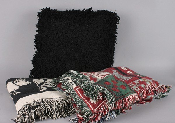 17: Mancow: Two Cow Blankets and Two Black Pillows,