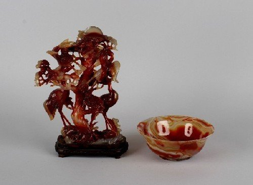 4B: A Chinese Carved Agate Figural Group of Birds, Heig