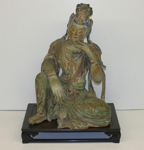 5B: A Chinese Carved Wood and Polychrome Painted Figure