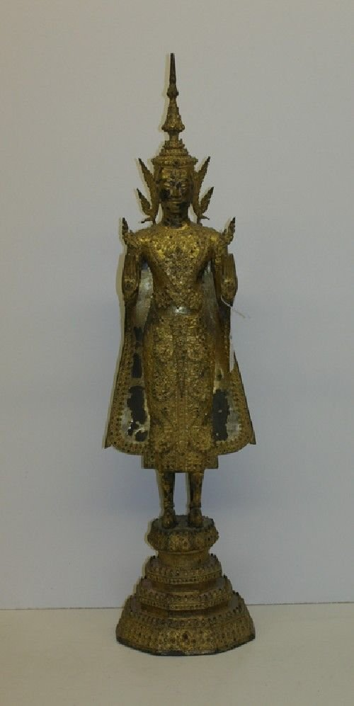 7B: A Thai Gilt Bronze Figure of a Standing Buddha, Hei