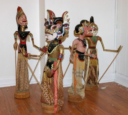 9B: A Group of Five Southeast Asian Carved Wood Puppets