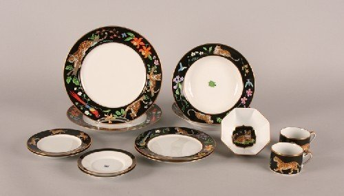 "20B: A Chase Jaguar Jungle"" Porcelain Service for Six,"