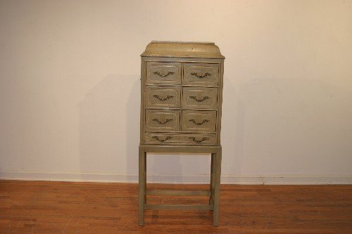 21B: A Miniature Painted Wood Chest, Height 51 x width