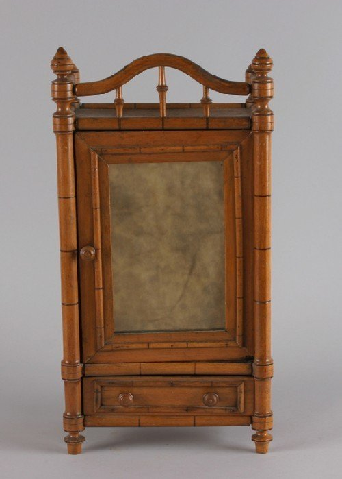 22B: A Victorian Faux Bamboo Diminutive Armoire. Height