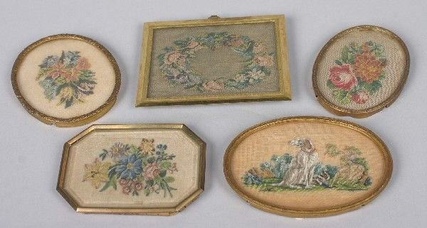 395B: A Group of Five Embroidered Pictures, Largest 3 1