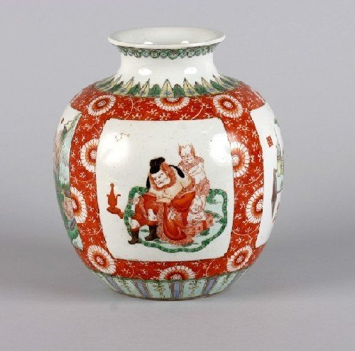 585B: A Chinese Famille Verte Porcelain Vase, Height 9