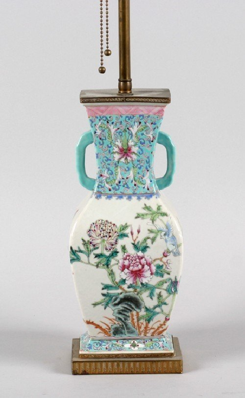 586B: A Chinese Famille Rose Porcelain Vase, Height of