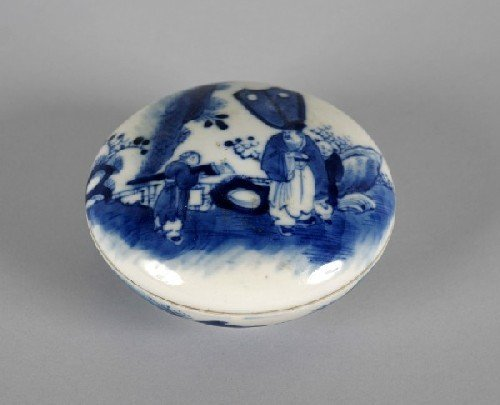 600B: A Chinese Blue and White Porcelain Paste Box, Dia