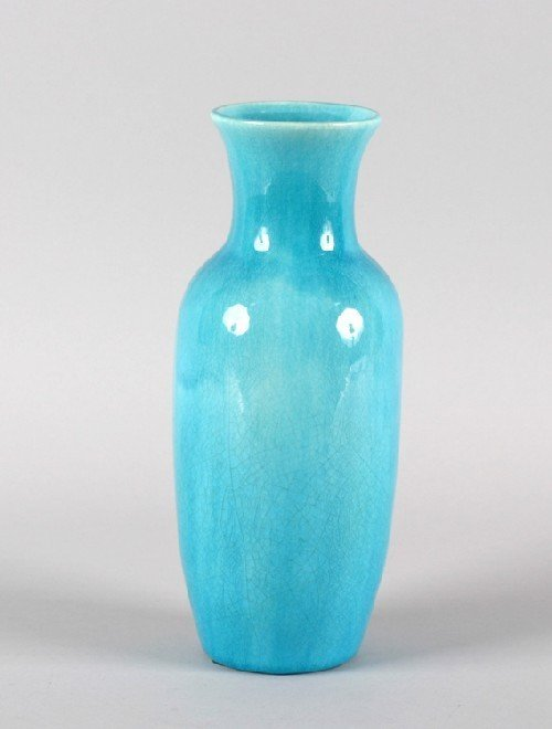 605B: A Chinese Turquoise Glazed Porcelain Vase, Height