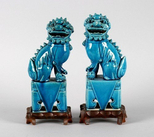 607B: A Pair of Chinese Turquoise Glazed Porcelain Foo