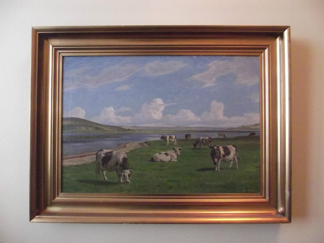 COWS IN FIELD OIL PAINTING