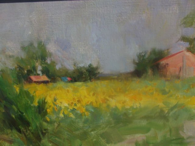 "QUANG HO OIL PAINTING ""SUN FLOWERS"" ST SIXTE, FRANCE"