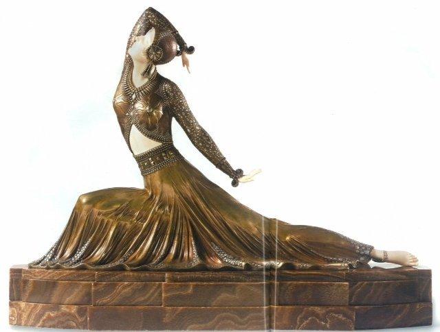 "ART DECO IVORY-BRONZE-MARBLE SCULP  ""CLARA"" D CHIPARUS"