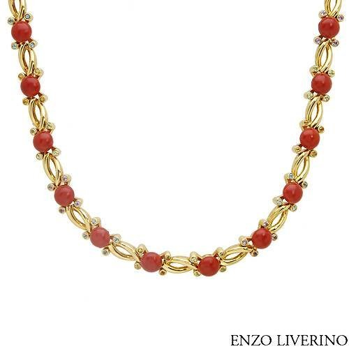 ENZO LIVERINO ELEGENT NEW GOLD-CORAL-PERIDOTS NECKLACE