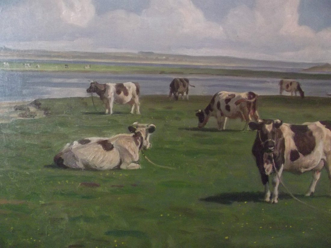 """RASMUS CHRISTENSEN """"COWS IN THE FIELD"""" OIL PAINTING"""