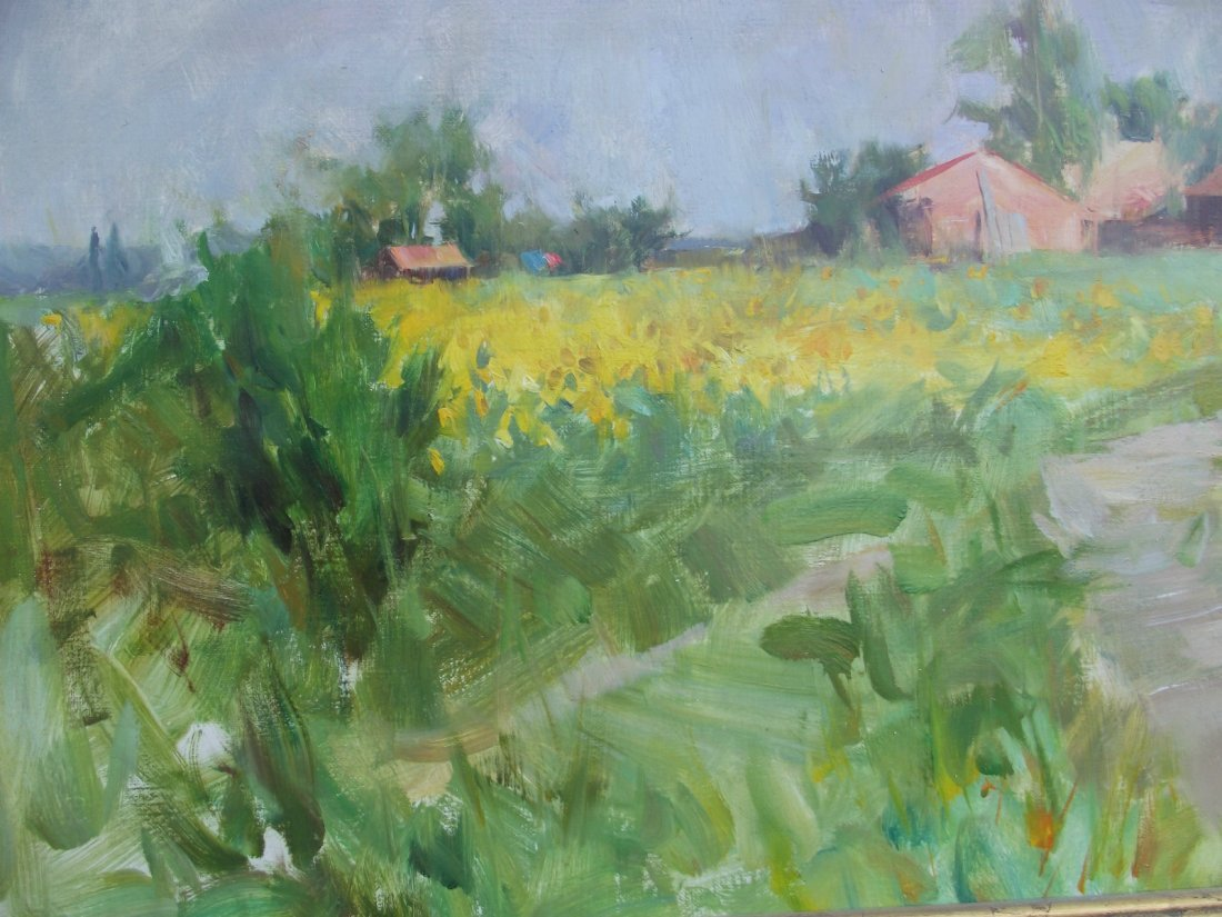 """QUANG HO OIL PAINTING ON CANVAS """"SUN FLOWERS"""" FRANCE"""